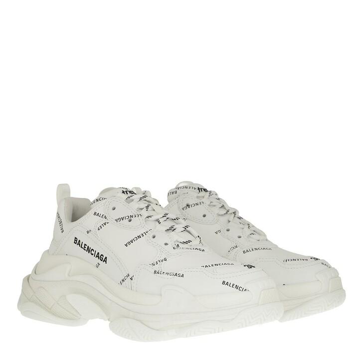 Schuh, Balenciaga, Triple S All Over Logo Sneakers White/Black