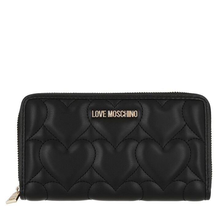 Geldbörse, Love Moschino, Portafogli Quilted Pu   Nero