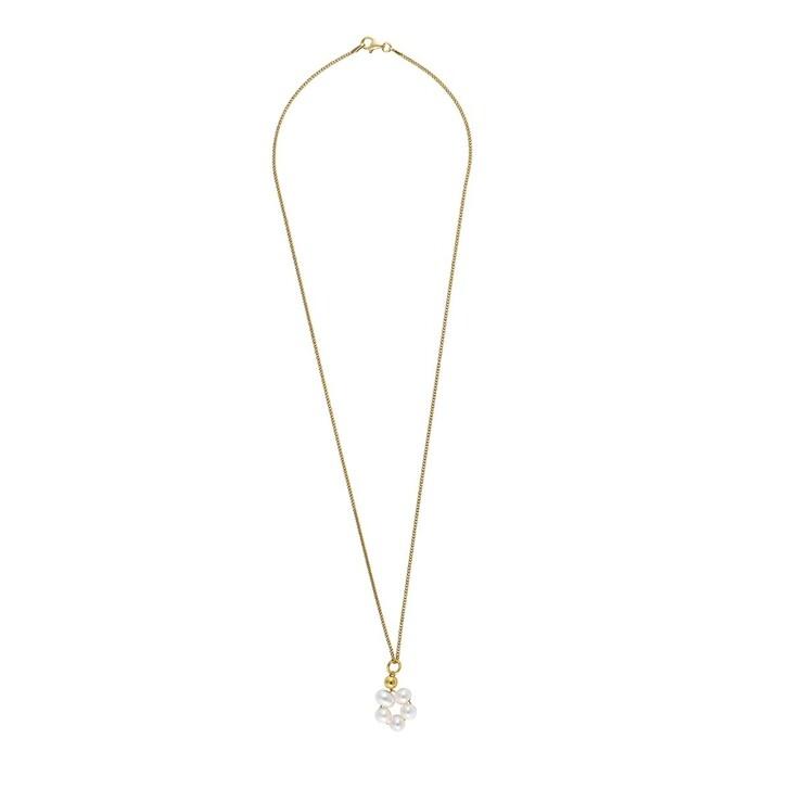 Kette, LLR Studios, Tiny Link X Pearl Hoop 50cm Necklace Gold