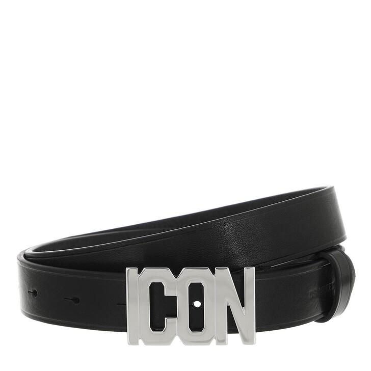belts, Dsquared2, Icon Buckle Belt Leather Black