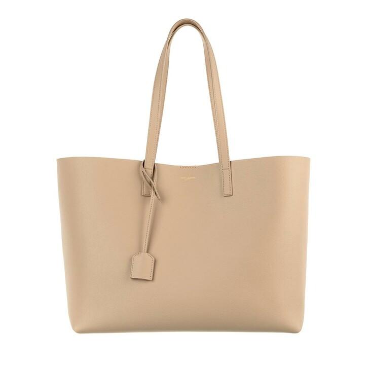 bags, Saint Laurent, East West Medium Tote Leather Dark Beige