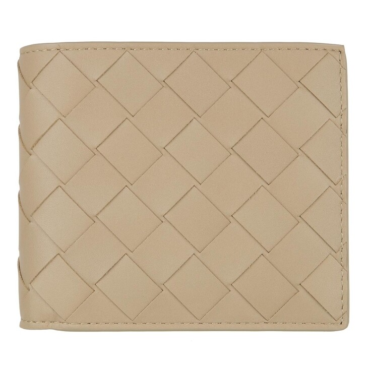 Geldbörse, Bottega Veneta, Woven Wallet Leather Taupe