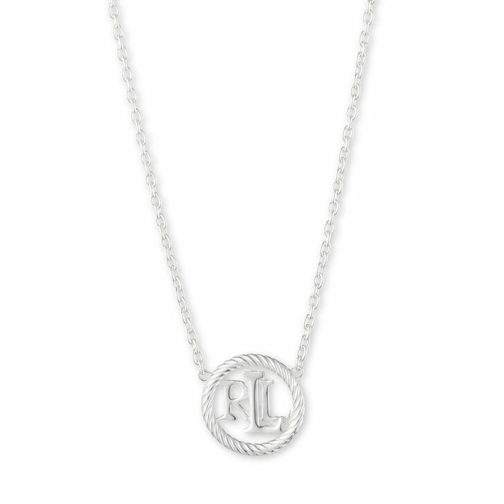 "necklaces, Lauren Ralph Lauren, Necklace 14"" LRL Rope Logo Pendant Silver"