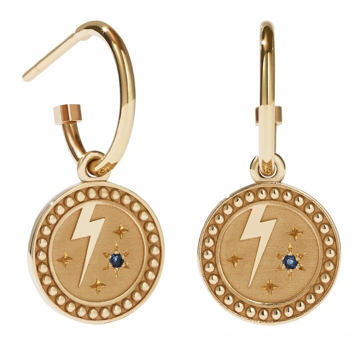 Ohrring, Meadowlark, Amulet Earrings Strength Blue Sapphire Yellow Gold