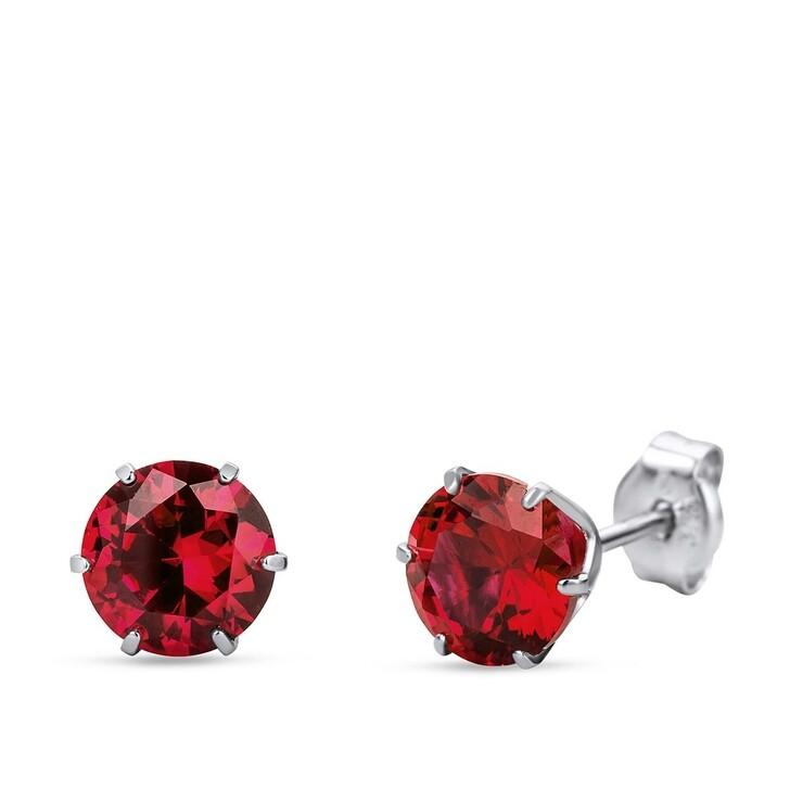 earrings, DIAMADA, 9KT Created Ruby Earring White Gold