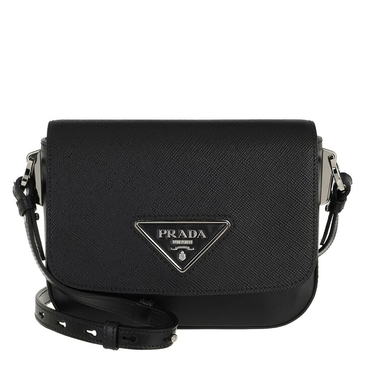 bags, Prada, Monochrome Crossbody Bag Leather Black