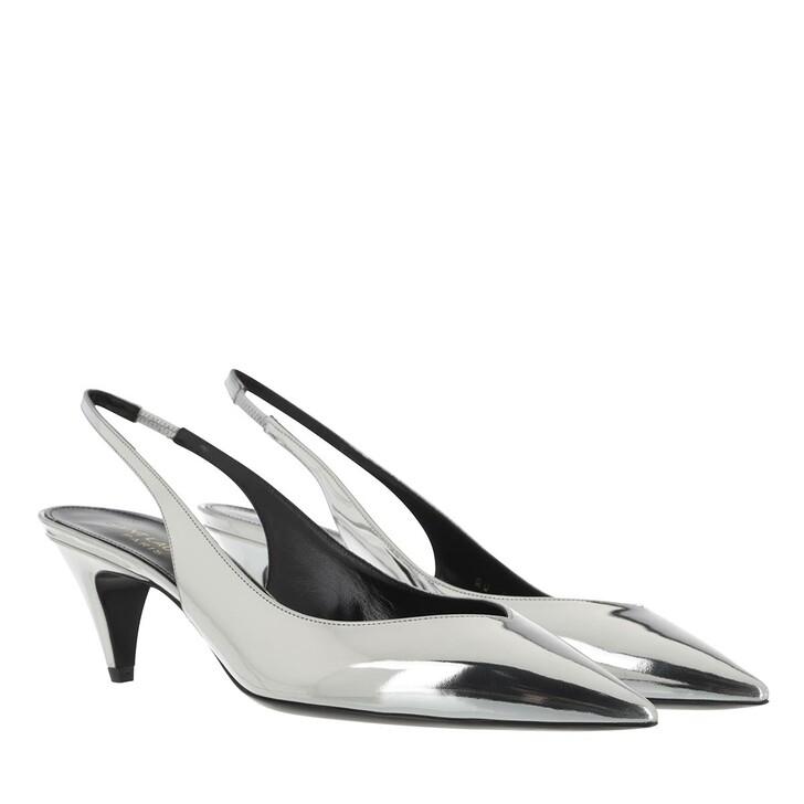 shoes, Saint Laurent, Kiki Slingback Pumps Silver