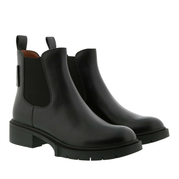 shoes, Coach, Lyden Leather Bootie Black