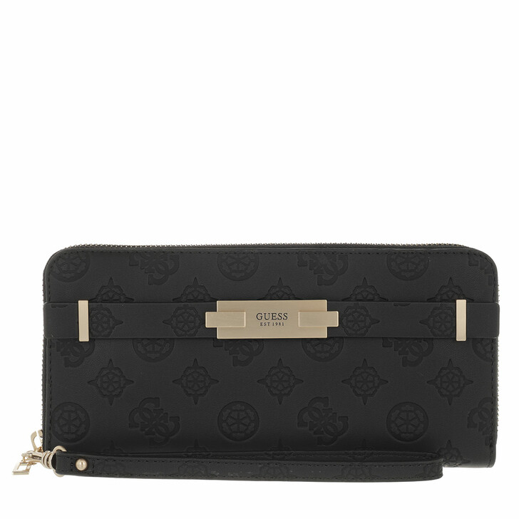 wallets, Guess, Bea Slg Large Zip Around Black