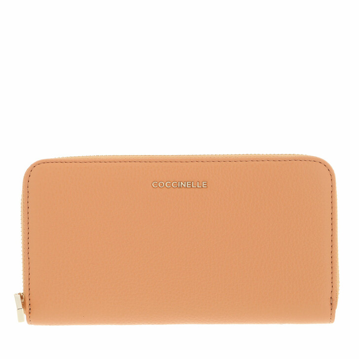 wallets, Coccinelle, Metallic Soft Wallet Grainy Leather  Almond