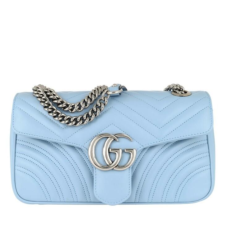 Handtasche, Gucci, GG Marmont Small Shoulder Bag Leather Light Blue/Porcelaine
