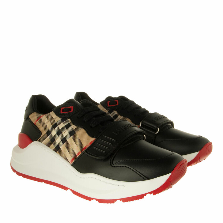 Schuh, Burberry, Vintage Check Cotton Sneakers Leather Black/Archive Beige