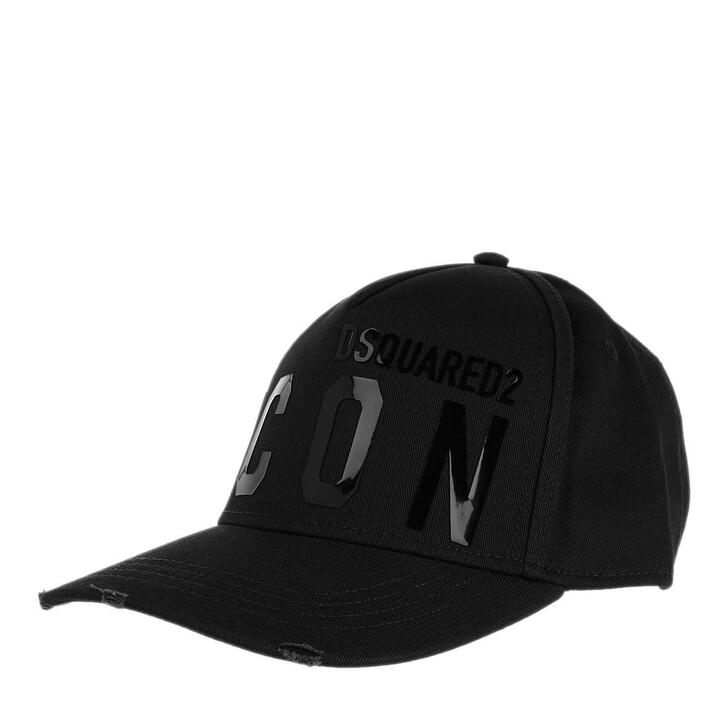 hats, Dsquared2, Icon Baseball Cap Black on Black