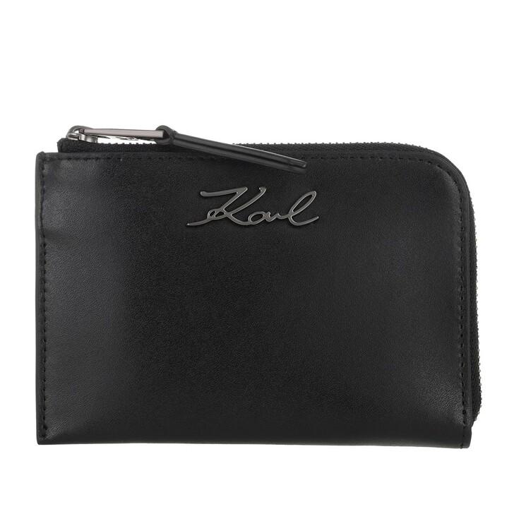 wallets, Karl Lagerfeld, Signature Zip Card Holder Black