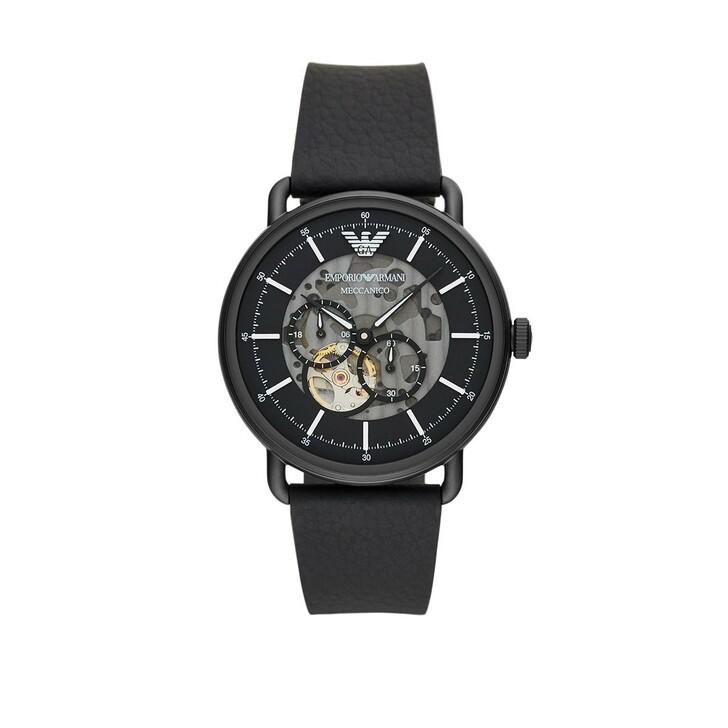 Uhr, Emporio Armani, Multifunction Black Leather Watch Black