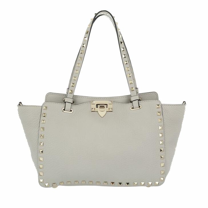 Handtasche, Valentino, Rockstud Tote Bag Opal Grey