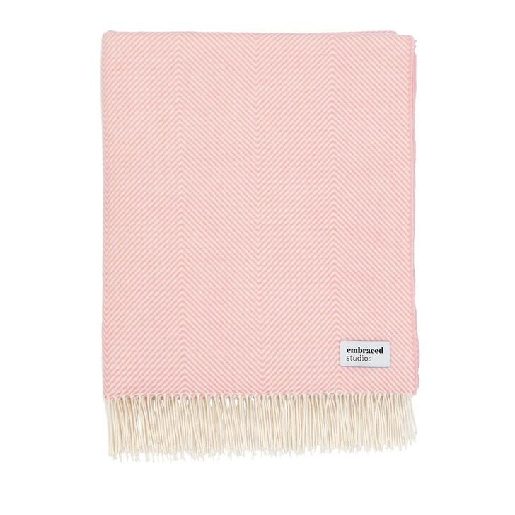 home_textiles, Embraced Studios, Herringbone Sofa Cotton Blanket Pink