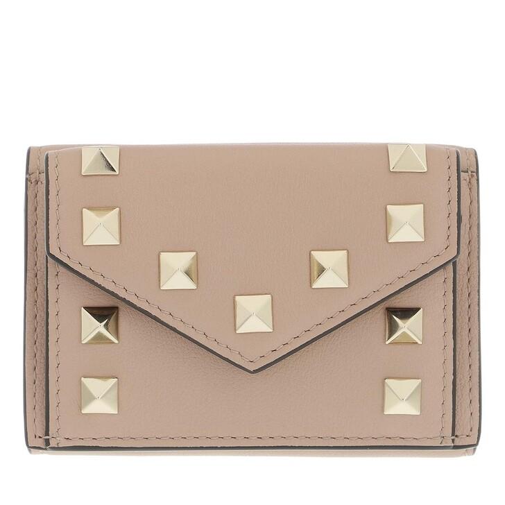 wallets, Valentino Garavani, Rockstud Wallet Leather Poudre