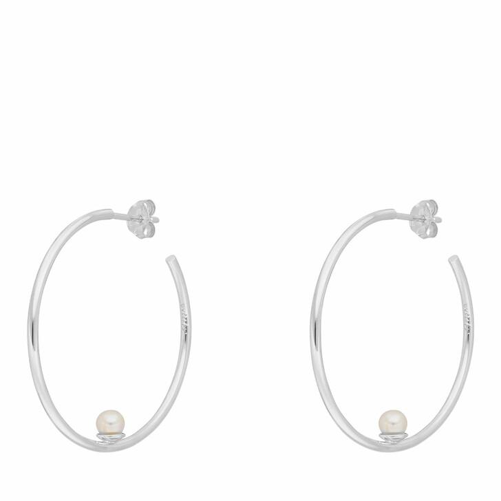 earrings, Leaf, Hoops Circle with Pearl Sterling silver