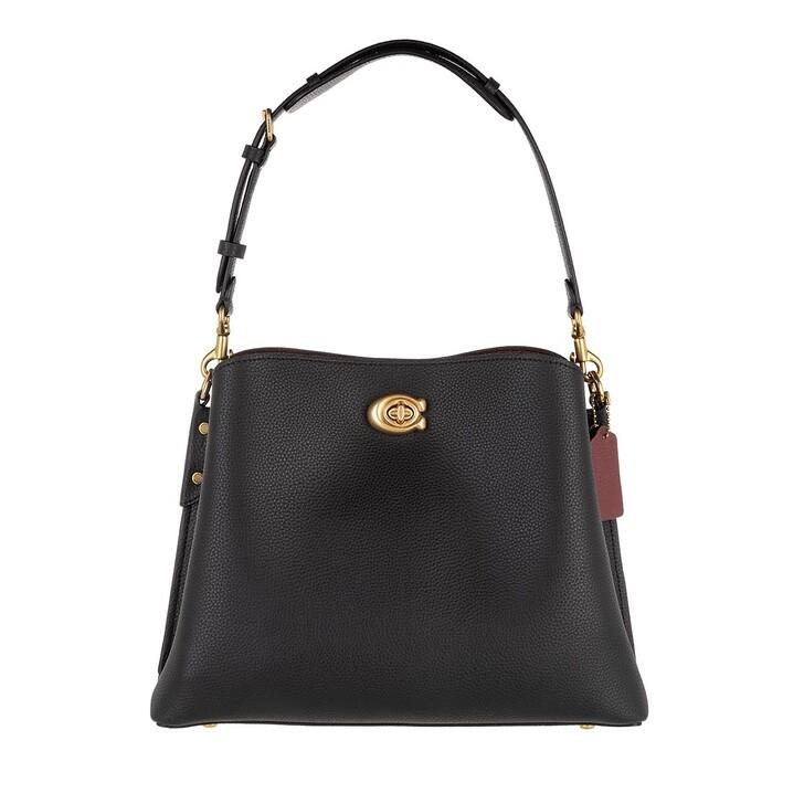 Handtasche, Coach, Polished Pebble Leather Willow Shoulder Bag Black