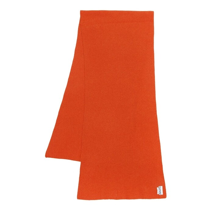 Schal, GANNI, Recycled Wool Knit Scarf Flame