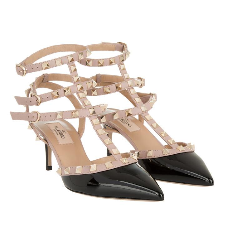 Schuh, Valentino Garavani, Ankle Strap Rockstud Sandali Con Tacco Nero