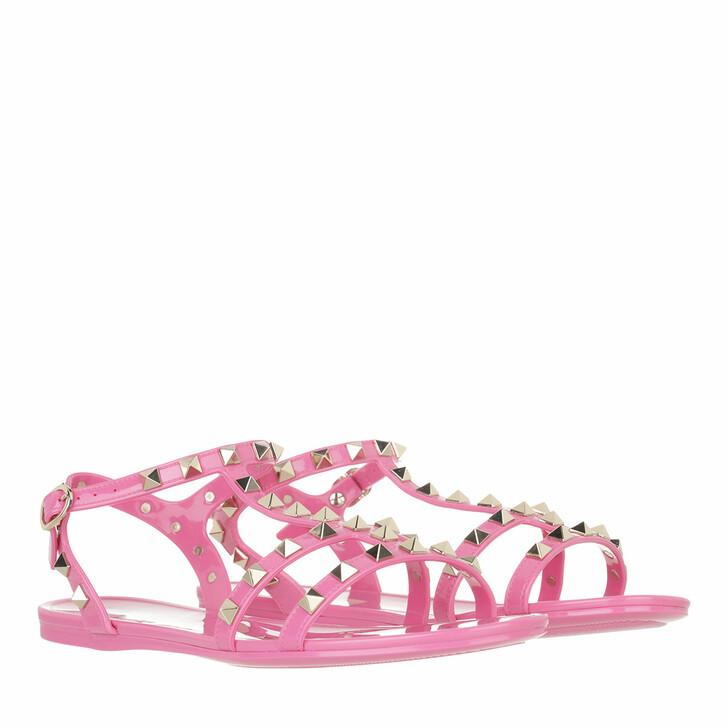 shoes, Valentino Garavani, Rockstud Flat Sandals Rubber Dawn Pink
