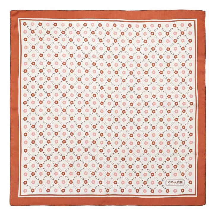 scarves, Coach, Branded Tea Rose Printed Silk Square Canyon