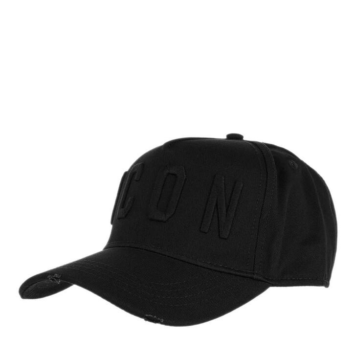 hats, Dsquared2, Icon Baseball Cap Black/Black