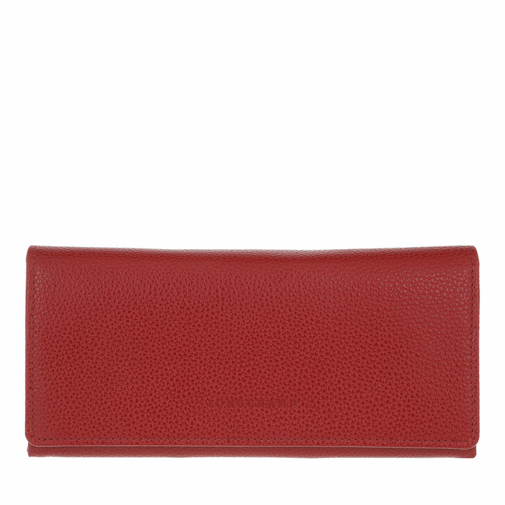 wallets, Longchamp, Le Foulonné Wallet with Flap Red