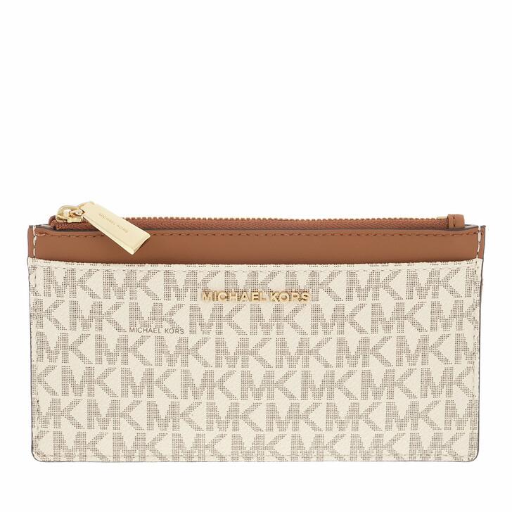 wallets, MICHAEL Michael Kors, Jet Set Charm Sm Slim Card Case Vanilla/Acorn