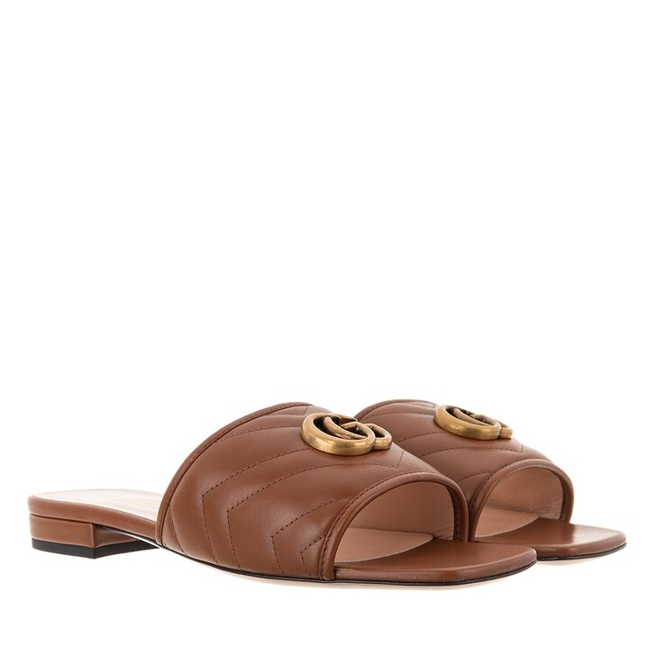 shoes, Gucci, GG Sandal Leather Brown