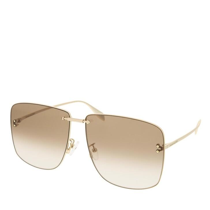 sunglasses, Alexander McQueen, AM0343S-002 64 Sunglass Unisex Metaltal Gold-Gold-Brown