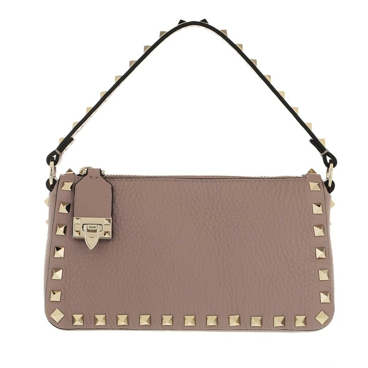 bags, Valentino Garavani, Small Rockstud Satchel Bag Leather Poudre