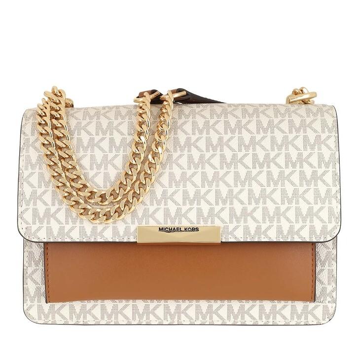 bags, MICHAEL Michael Kors, Jade Large Gusset Shoulder Vanilla/Acorn