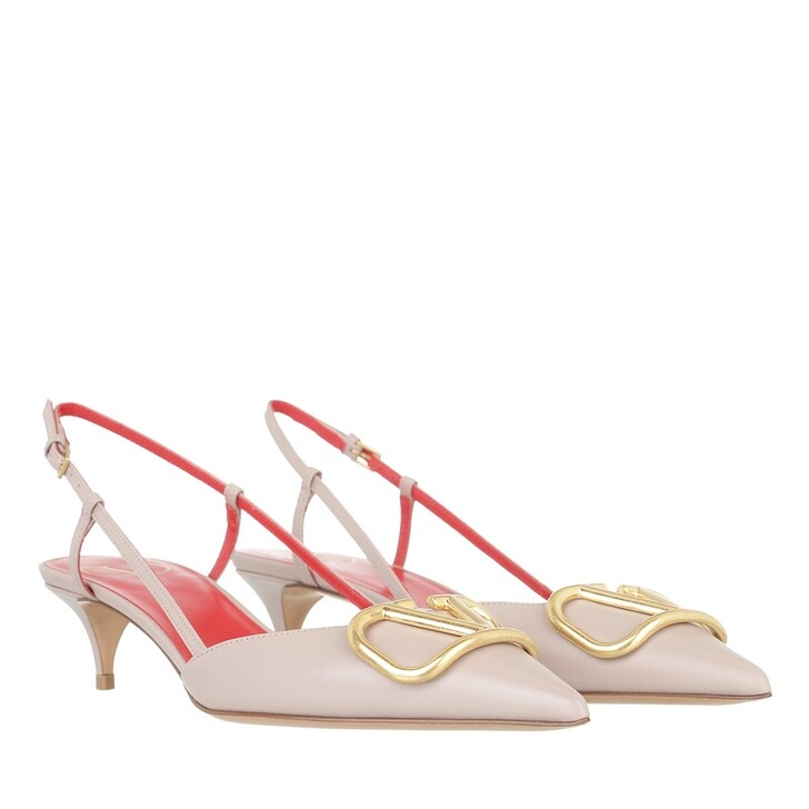shoes, Valentino Garavani, V Slingback Pumps Leather Poudre