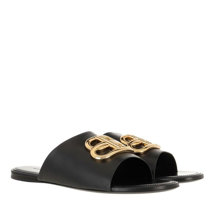 Schuh, Balenciaga, Slides With BB Logo Black/Gold