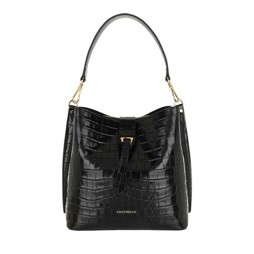 coccinelle -  Beuteltasche - Alba Croco Shiny Soft Bucket Bag - in schwarz - für Damen