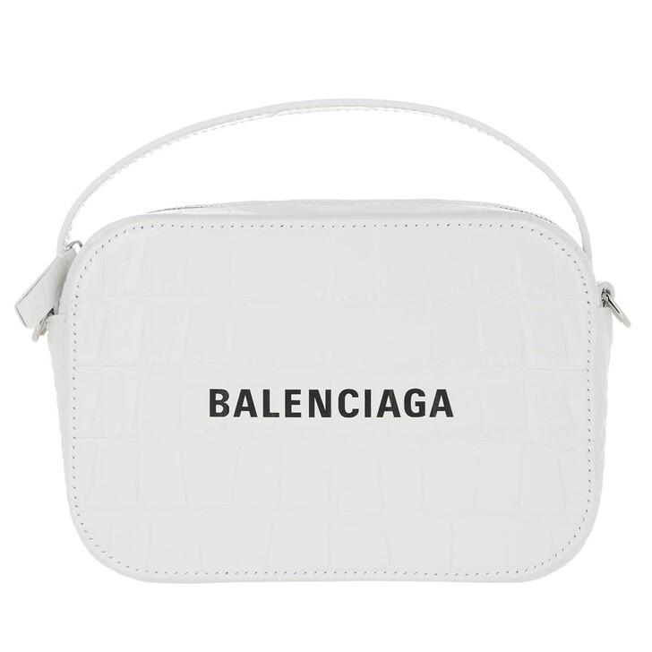 Handtasche, Balenciaga, Camera Bag Shiny Embossed Croc White