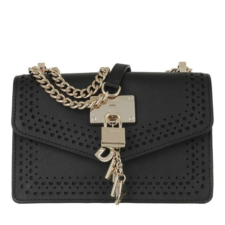 Handtasche, DKNY, Elissa Small Shoulder Flap Black Gold