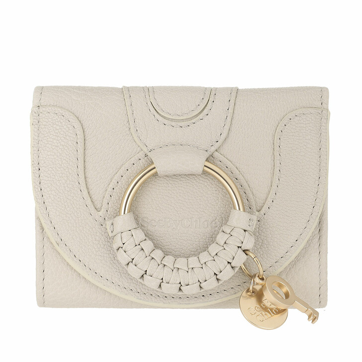 wallets, See By Chloé, Hana Compact Wallet Leather Cement Beige