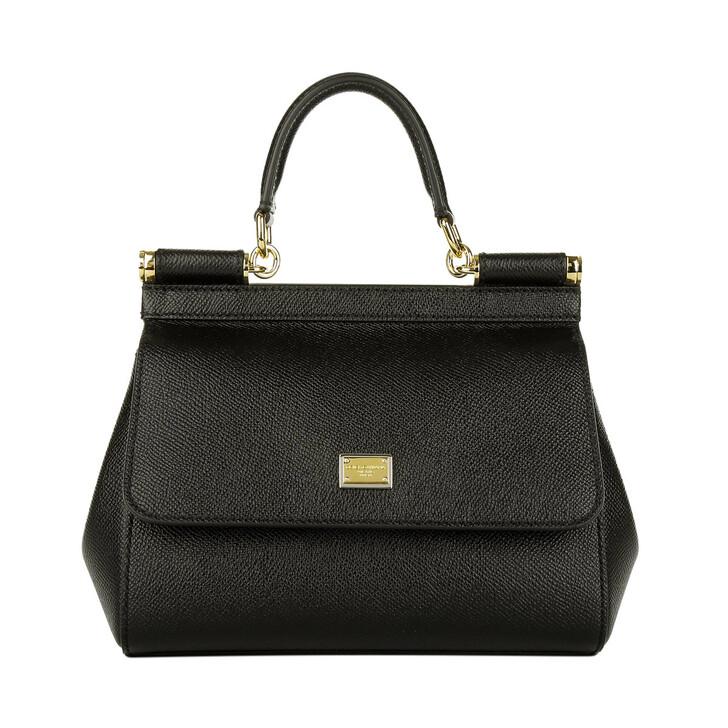 bags, Dolce&Gabbana, Mini Bag Sicily Vitello Stampa Dauphine Nero