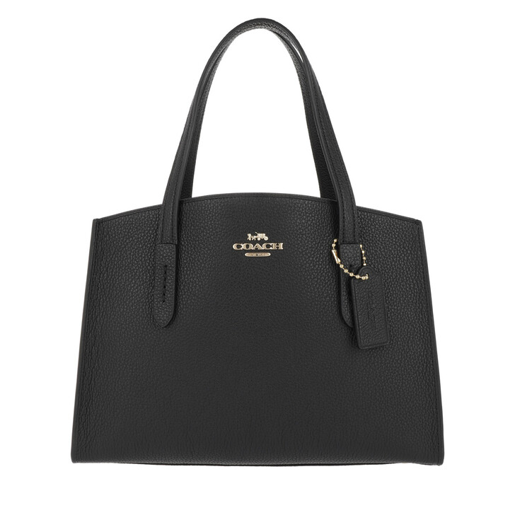 Handtasche, Coach, Polished Pebble Leather Charlie 28 Carryall Black