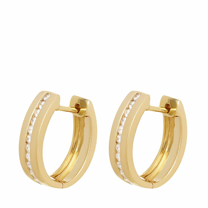earrings, VOLARE, Earring Hoops 24 Brill ca. 0,30 Yellow Gold
