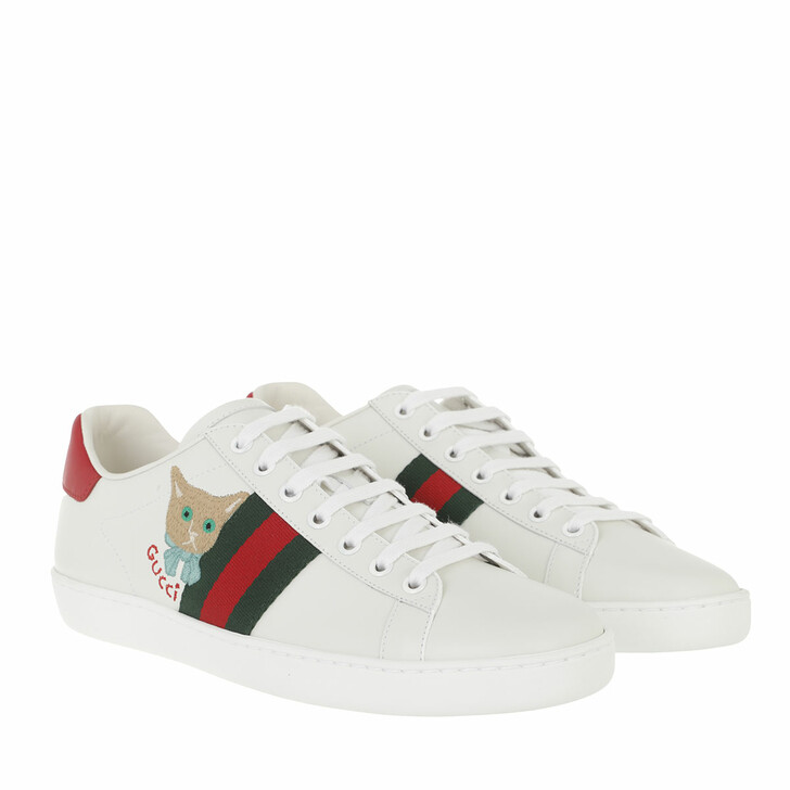 shoes, Gucci, Ace Cat Sneakers Leather