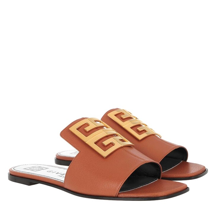 Schuh, Givenchy, 4G Sandals Grained Leather Cognac