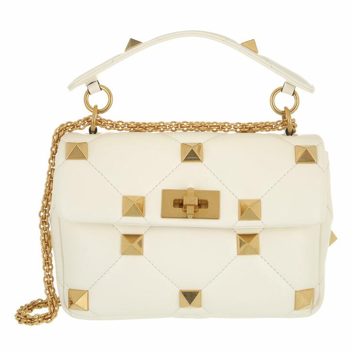 bags, Valentino Garavani, Roman Stud Medium Crossbody Bag Leather Rose Ivory