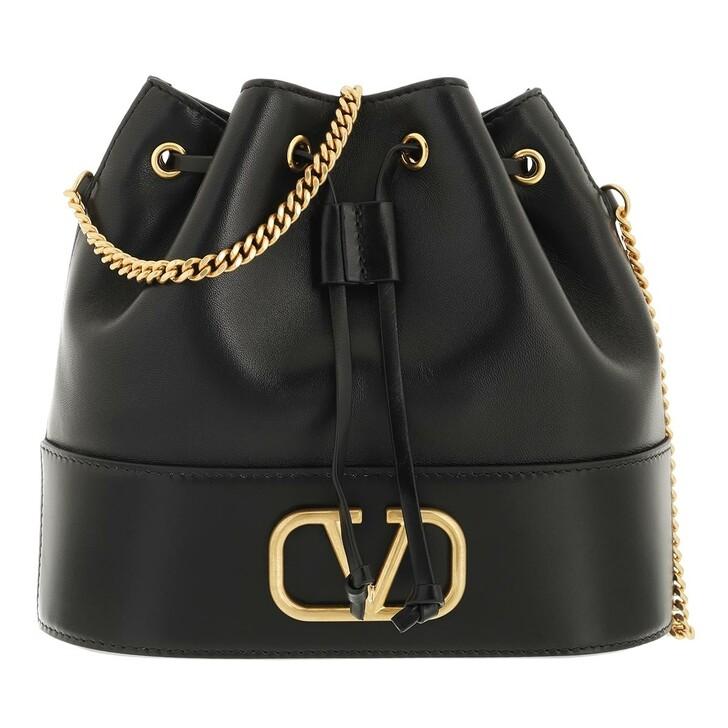 bags, Valentino Garavani, V Logo Bucket Bag Leather Black