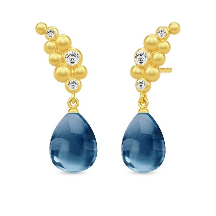 Ohrring, Julie Sandlau, Bloom Droplet Earrings Gold/Sapphire Blue Crystal
