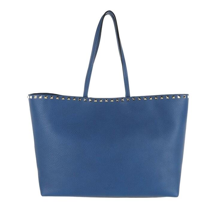 Handtasche, Valentino, Rockstud Studded Shopping Bag Leather Blu Delft